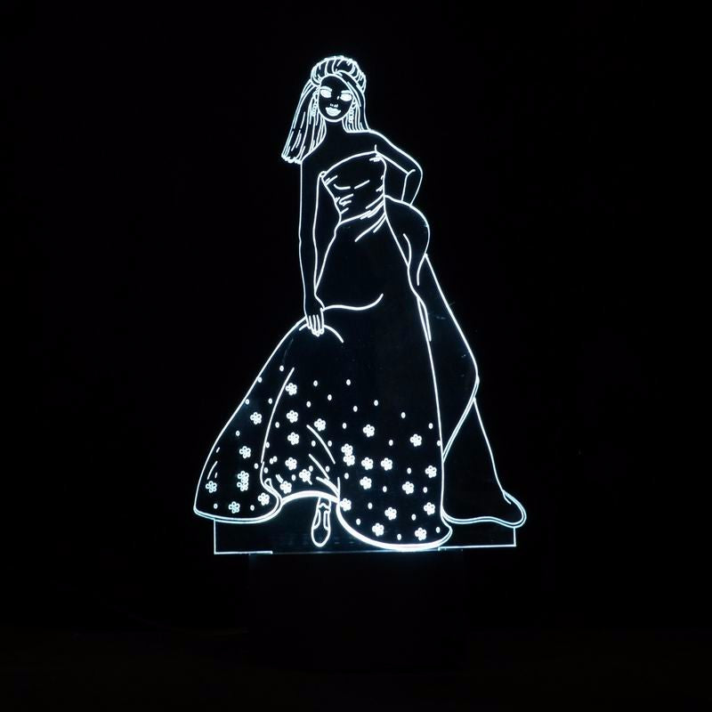 Beauty Lady 3D Optical Illusion LED Lamp