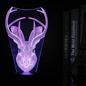 Fantasy Rabbit Head 3D Optical Illusion LED Lamp chilldecor.com