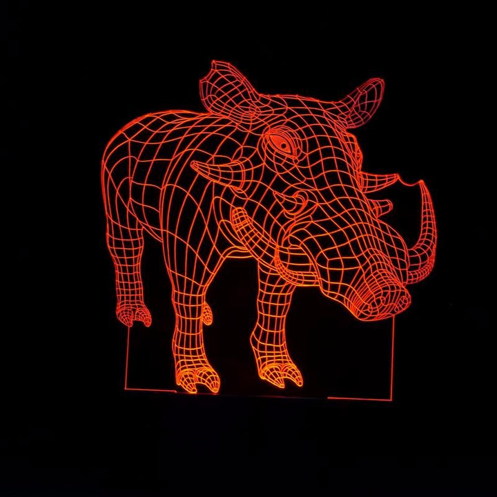 chilldecor.com Wild Boar 3D Optical Illusion LED Lamp