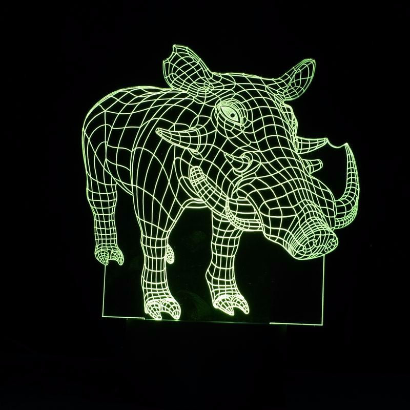 Wild Boar 3D Optical Illusion LED Lamp
