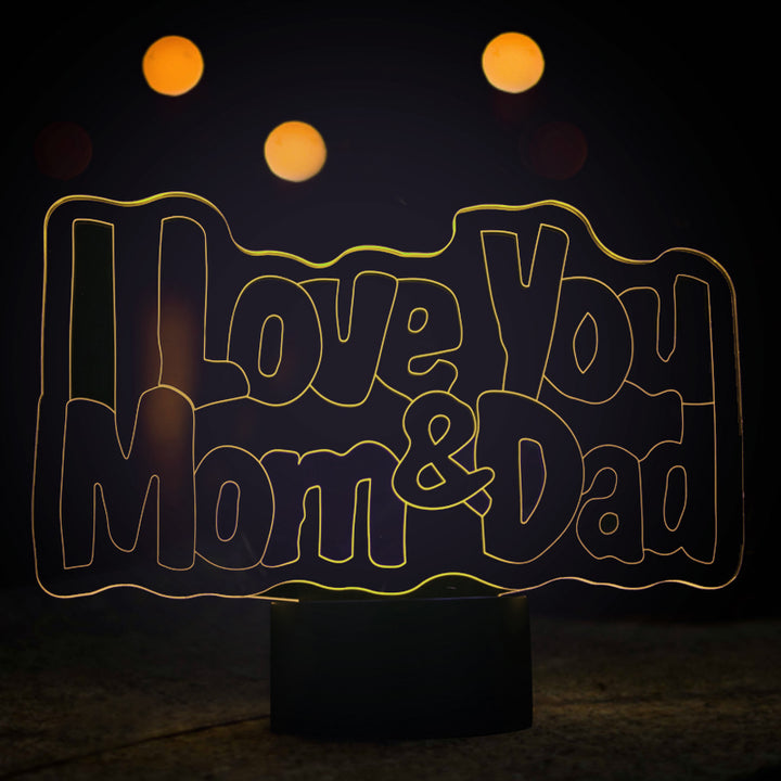 chilldecor.com I Love You Mom and Dad 3D Optical Illusion LED Lamp