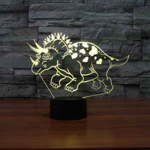 Pentaceratops Dinosaur 3D Optical Illusion LED Lamp