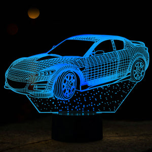Car Shaped 3D Optical Illusion LED Lamp