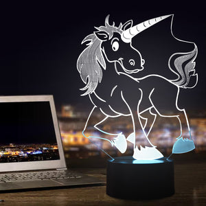 chilldecor.com Cartoon Unicorn Novelty 3D Optical Illusion LED Lamp