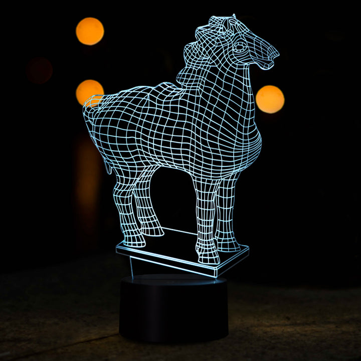 Line Art Novelty Horse 3D Optical Illusion LED Lamp