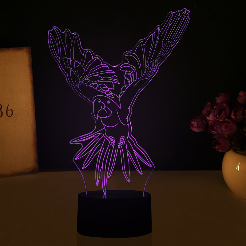 Flying Parrot 3D Optical Illusion LED Lamp