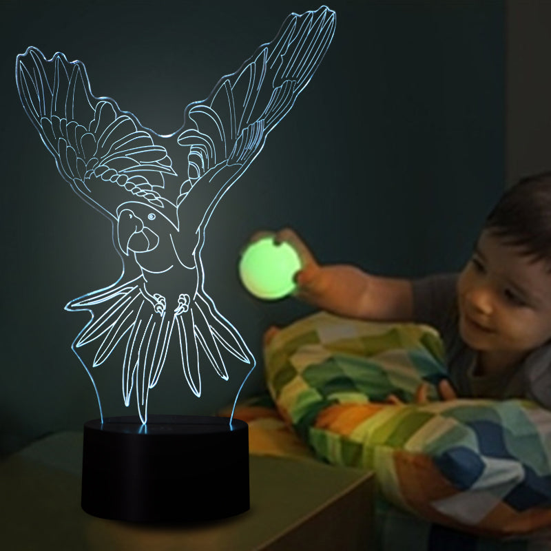 chilldecor.com Flying Parrot 3D Optical Illusion LED Lamp