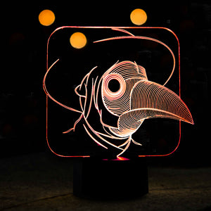 Bird Face 3D Optical Illusion LED Lamp