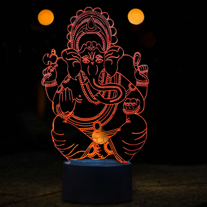 Sitting Ganesh 3D Optical Illusion LED Lamp