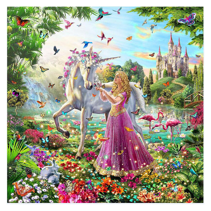Princess with Unicorn DIY Acrylic Paint By Numbers Kit 40x50cm
