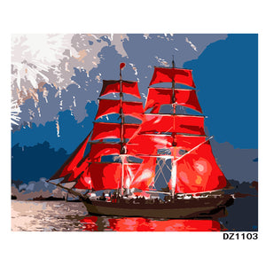 Red Sailboat DIY Painting By Number Handpainted Oil Painting Modern Wall Art Picture