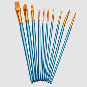 Blue Nylon Painting Brush 10Pcs