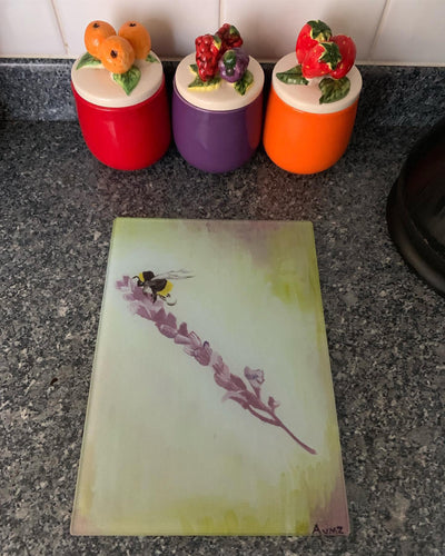 """Bee on Lavender"" Glass chopping board"