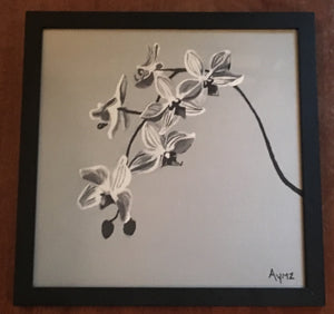 """Wild Orchids in Grayscale"" framed print"