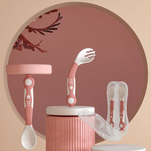 Soft Baby Spoon & Fork with Travel Case
