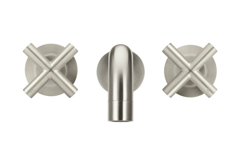 Brushed Nickel Round Curved Spout & Cross Mixer Bundle