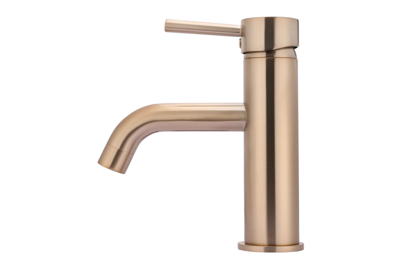Champagne Curved Basin Mixer Tap