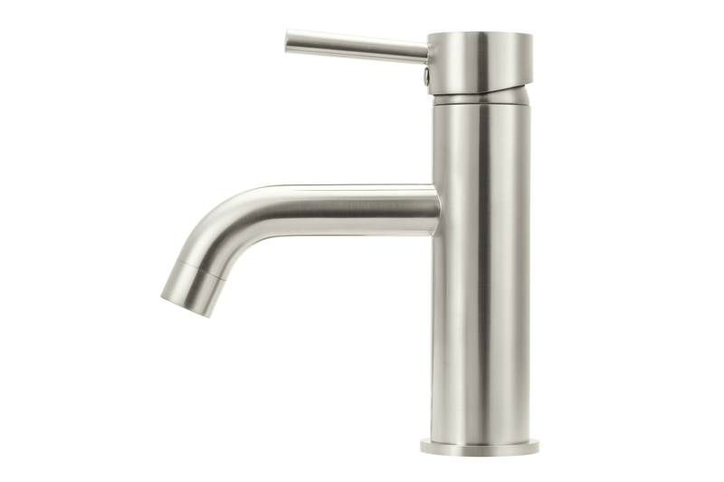 Brushed Nickel Curved Basin Mixer Tap