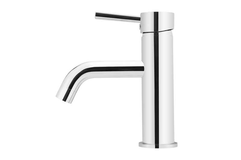 Polished Chrome Curved Basin Mixer Tap