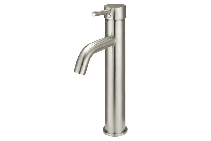 Brushed Nickel Curved Tall Basin Mixer Tap