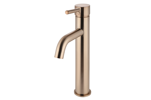 Champagne Curved Tall Basin Mixer Tap