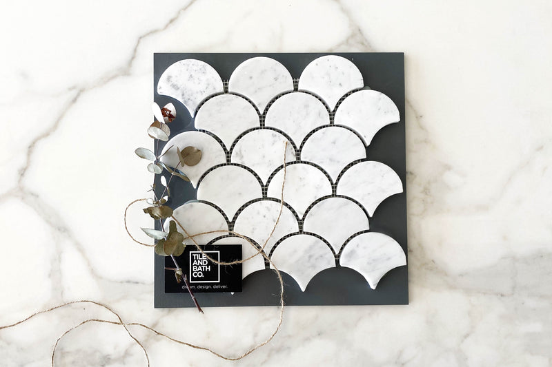 Carrara Marble Fish Scale Tile