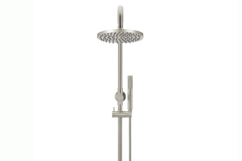 Brushed Nickel Round Shower Rail Combination