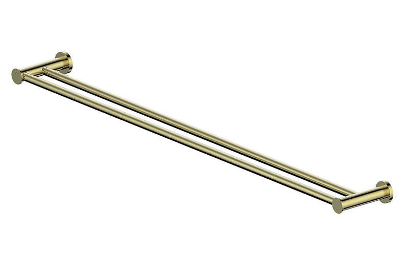 BRUSHED BRASS GISELE DOUBLE TOWEL RAIL