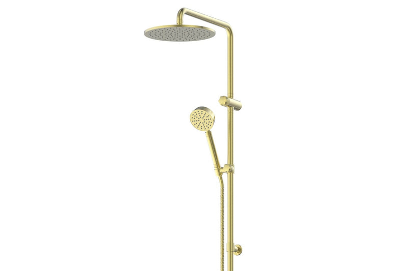 Brushed Brass Textura & Gisele Twin Rail Shower
