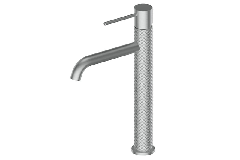 BRUSHED STAINLESS TEXTURA TOWER BASIN MIXER
