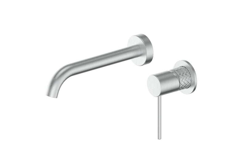 Brushed Stainless Textura Wall Basin Mixer