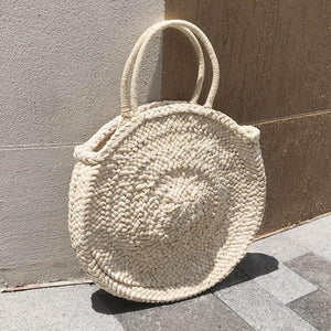 Round Tote Handmade Woven Basket Bag