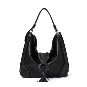 Vegan LEather Top Handle Shoulder Bag with Tassel