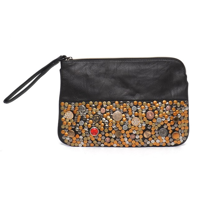 Woven Vegan Leather Day Clutch