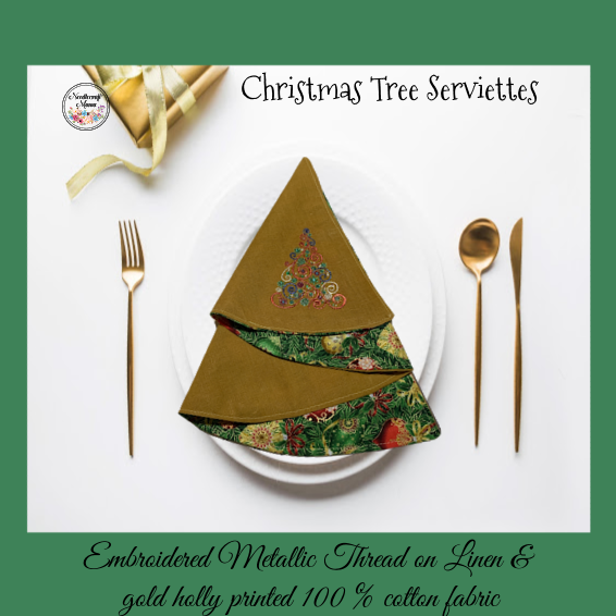 Christmas Serviettes - Christmas Tree Swirls Design