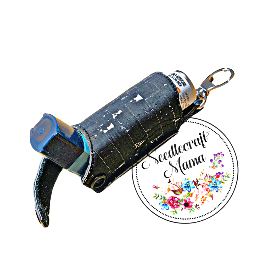 Inhaler Holder Black with Silver Fleck Cork Leather with quality Silver swivel lobster clip