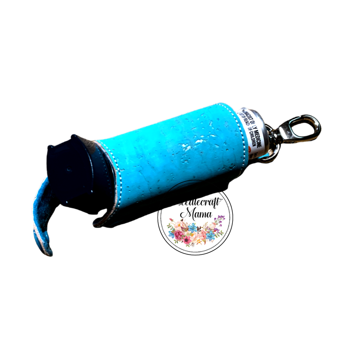 Inhaler Holder Sky Blue Cork Leather with Silver Flecks & a quality Silver Swivel Lobster Clip