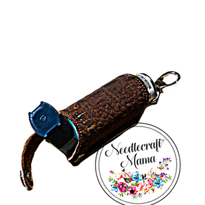Inhaler Holder textured Chocolate Brown Cork Leather with a quality Gold Swivel Lobster Clip