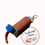 Inhaler Holder textured Chocolate Brown Cork Leather with a quality Silver Swivel Lobster Clip