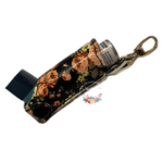 Inhaler Holder Vinyl Floral Orange on Black Background With quality silver lobster clip