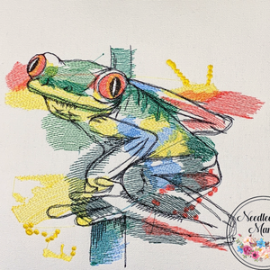 Cushion Cover Machine Embroidered Frog on 100% White Cotton Canvas with plain zippered back