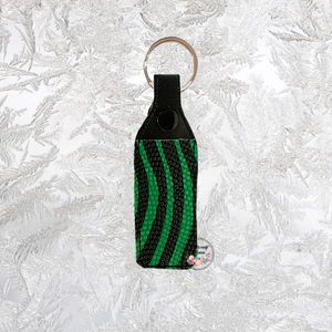 Lip Balm Holder Green & Black textured vinyl