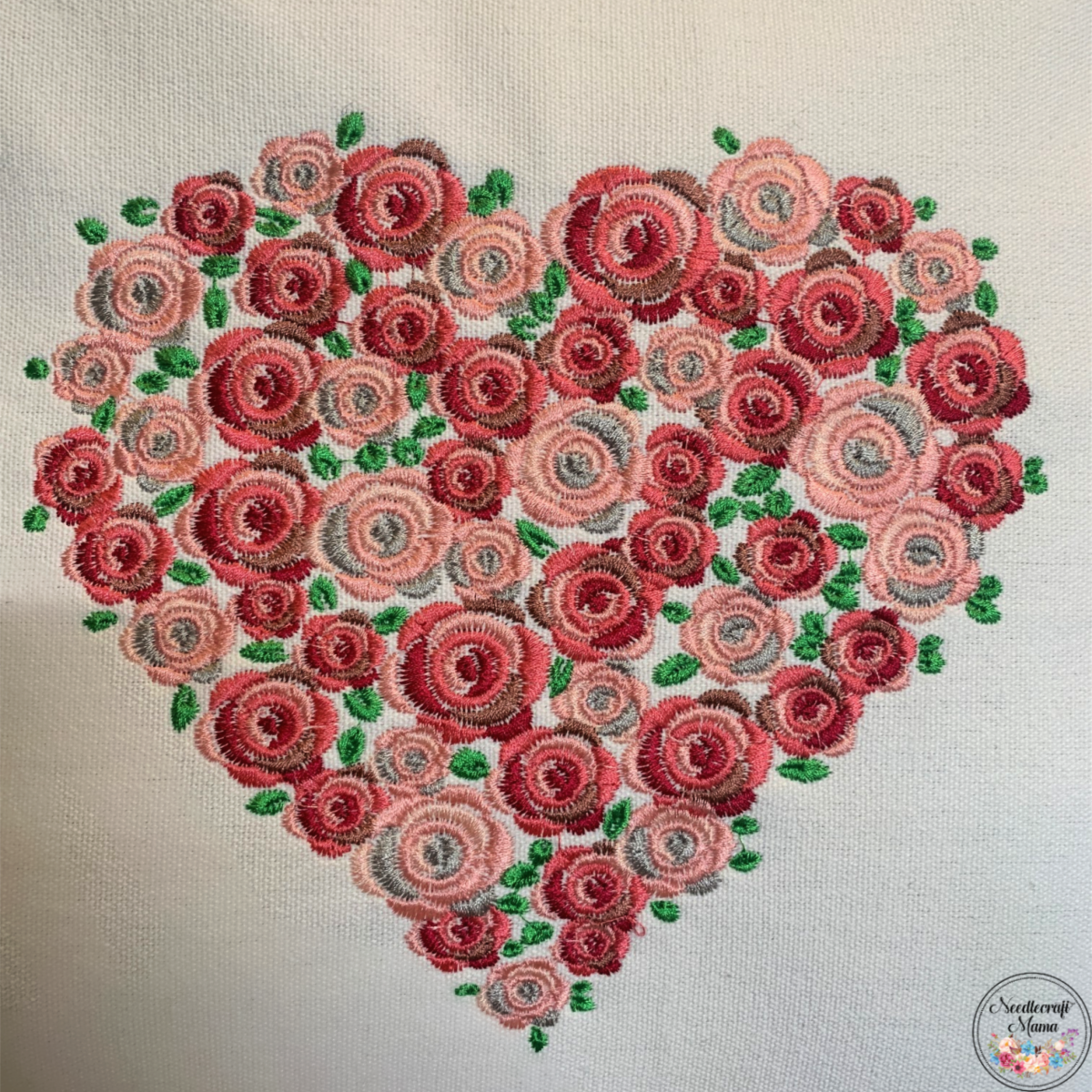 Cushion Cover Machine Embroidered Heart on 100% White Cotton Canvas with plain zippered back