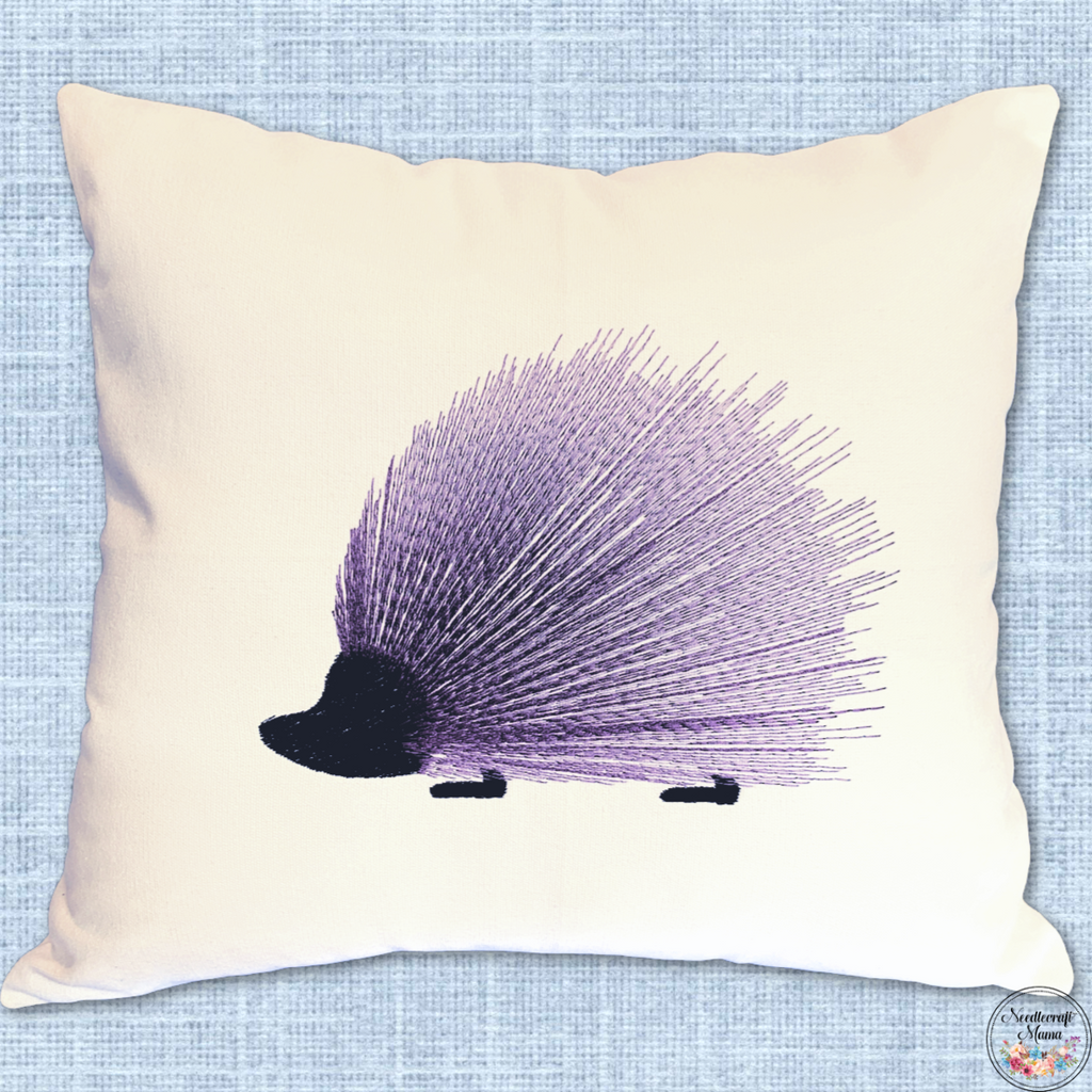 Cushion Cover Machine Embroidered 'Primitive Hedgehog' on 100% White Cotton Canvas with 3 Hedgehogs embroidered on zippered back