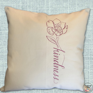 Cushion Cover Machine Embroidered 'Kindness' saying in purple thread on 100% White Cotton Canvas with plain zippered back
