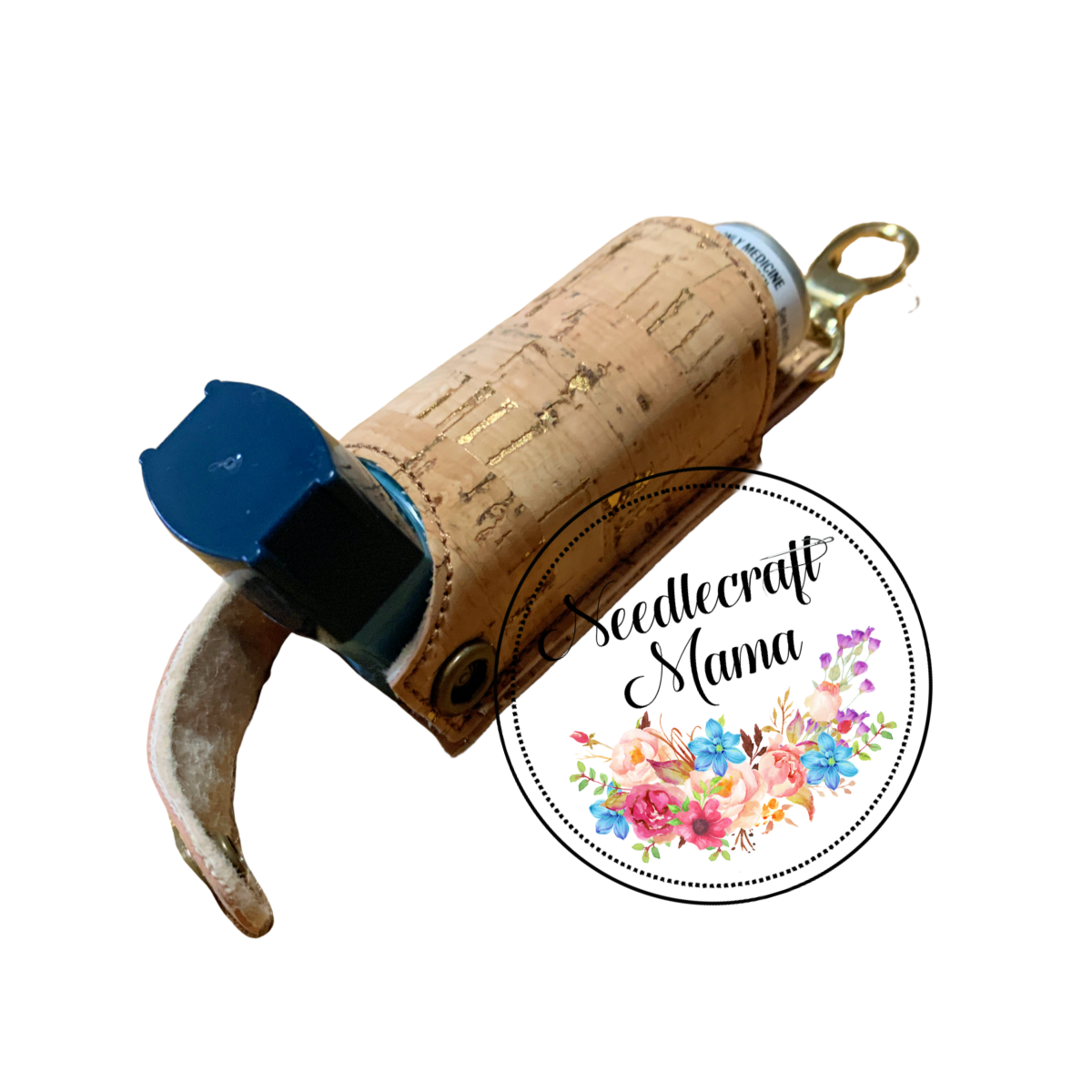 Inhaler Holder Natural coloured Cork Leather with Gold Fleck & a quality Gold Swivel Lobster clip