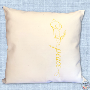 Cushion Cover Machine Embroidered 'Peace' saying in yellow thread on 100% White Cotton Canvas with plain zippered back
