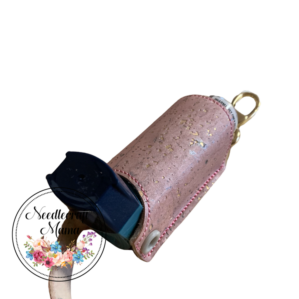 Inhaler Holder Rose Pink with Gold Fleck Cork Leather & a quality Gold Swivel Lobster Clip