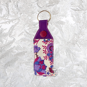 Lip Balm Holder Purple Floral & Plain Vinyl