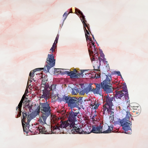 Toiletry Bag Machine quilted with Handles Maroon & Purple Floral
